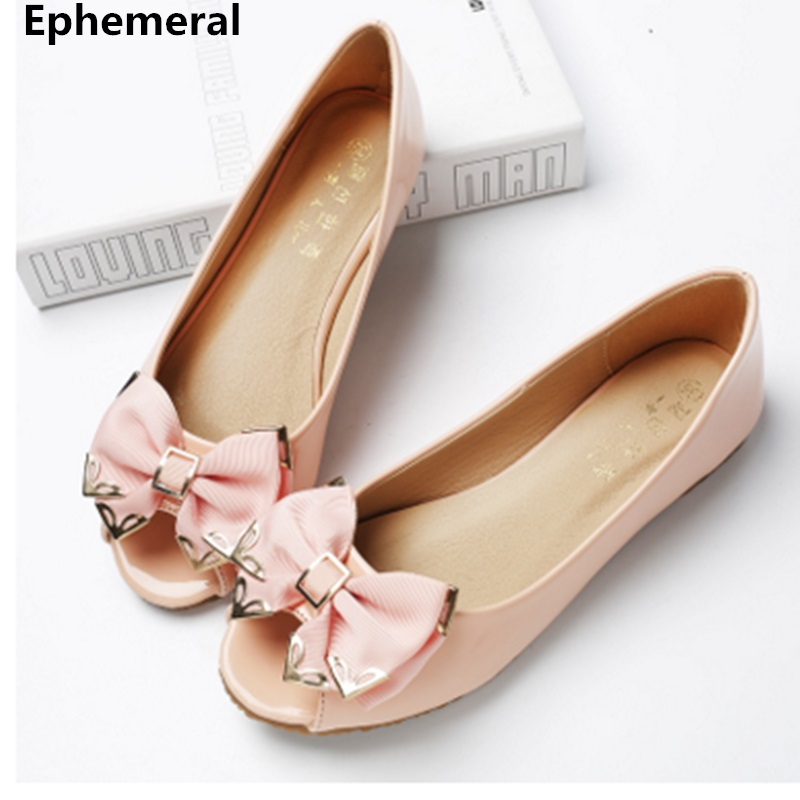 Females flat shoes with bow peep toe tpr soft sole plus size slip on 11 12 beige and black loafer low top vintage flats women
