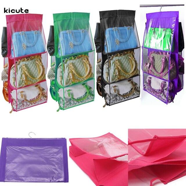 Convenient Double Sided Sequential Pockets Letter Holders Handbag Purse Bag  Tidy Organiser Storage Wardrobe Closet Hanger
