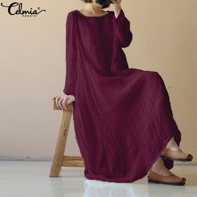 4e5068b5454 2018 Celmia Summer Dress Women Long Sleeve Casual Loose Vintage Maxi  Sundress Bobo Beach Party Long Shirt Vestido Robe Plus Size
