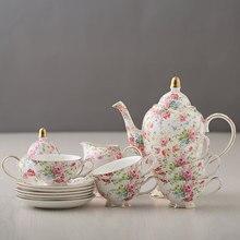 Кофейные чашки, костяной фарфор в европейском стиле, кофейный сервиз, фарфоровый чайный сервиз, весь набор, цветочный чай, черный чай, керамические чашки, горшок, Прямая поставка