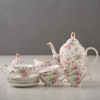Coffee Cups European Style bone china Coffee Set Porcelain Tea Set Whole Set Flower Tea Black Tea Ceramic Cups Pot Drop Shipping