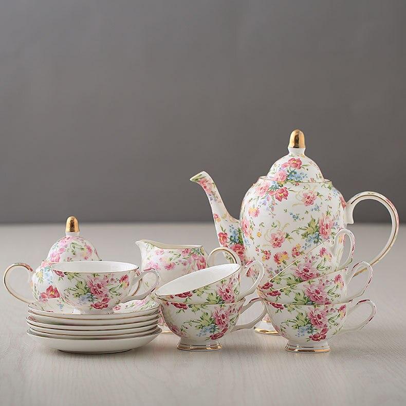 Tasses à café Style européen os chine ensemble de café porcelaine ensemble de thé ensemble entier fleur thé noir thé tasses en céramique Pot livraison directe