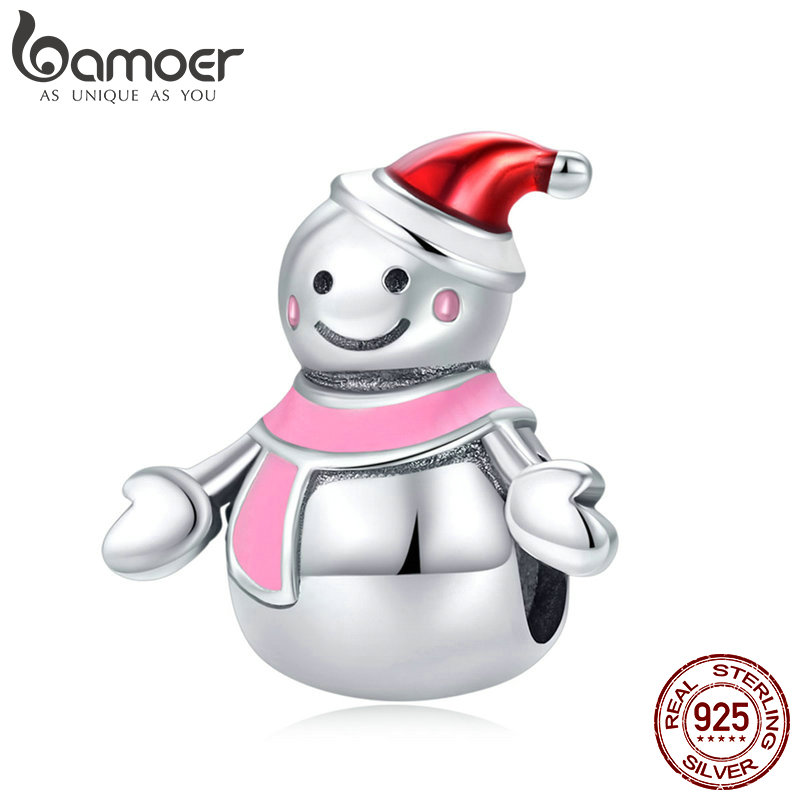 BAMOER Authentic 925 Sterling Silver Miss Snowman Red and Pink Enamel Charms Fit Bracelets & Bangles DIY Jewelry Making SCC854BAMOER Authentic 925 Sterling Silver Miss Snowman Red and Pink Enamel Charms Fit Bracelets & Bangles DIY Jewelry Making SCC854