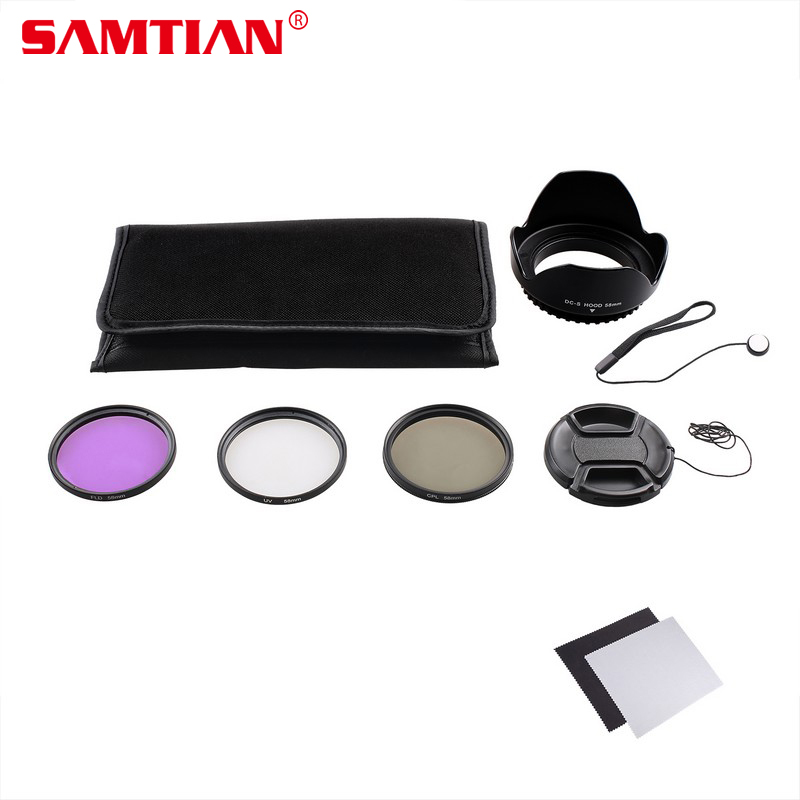 SAMTIAN Pratique 49 MM 52 MM 55 MM 58 MM 62 MM 67 MM 72 MM 77 MM UV/CPL/FLD Objectif Filtre Accessoire Kit Avec Tulip Lens Hood