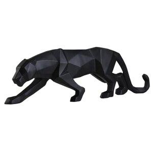 Image 1 - מודרני מופשט שחור פנתר פיסול גיאומטרי שרף נמר פסל חיות בר מתנת מלאכת קישוט אביזרי ריהוט
