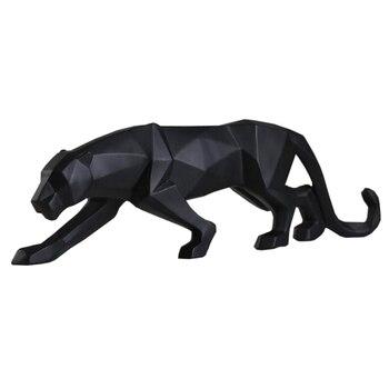 Abstrata moderna Escultura Estátua de Resina Geométrica Leopardo Pantera Negra Da Vida Selvagem Presente Decor Ornamento Artesanato Acessórios Mobiliário