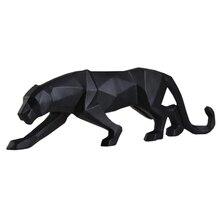 Nowoczesny abstrakcyjny rzeźby z czarnej pantery geometryczne żywica Leopard statua Wildlife Decor prezent ornament do rękodzieła akcesoria meble