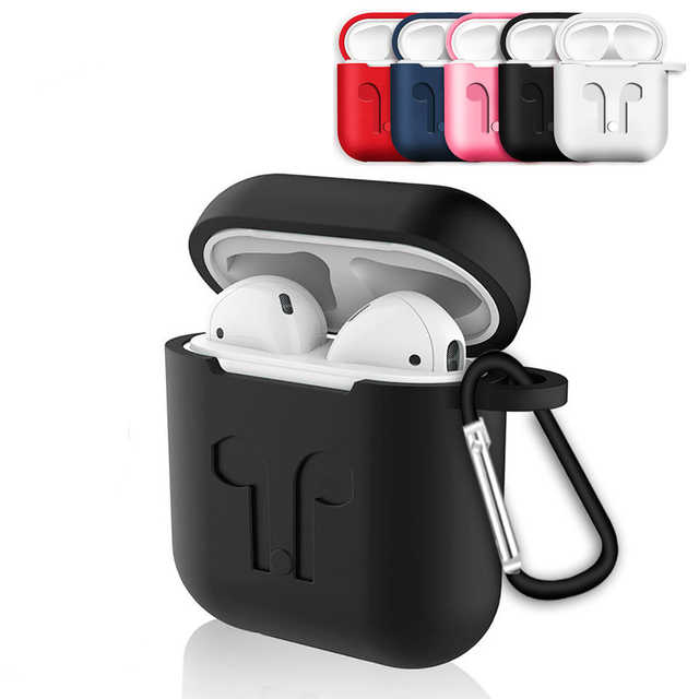 Mini Soft Silicone Case For Airpods Shockproof Cover For Apple For Air Pods Earphone Cases Ultra Thin Protector Case with Hooks