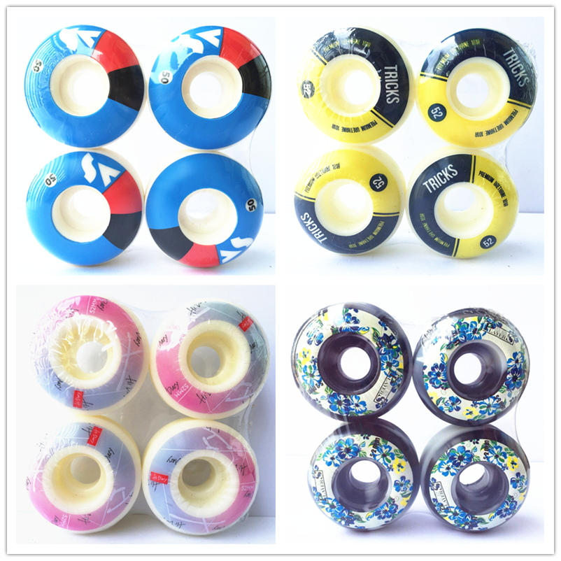 SK8ER SKATEBOARD WHEELS 50-54mm 4pcs/Set Element Wheels For Double Rocker Deck PU Ruedas Patines Skateboarding Wheel