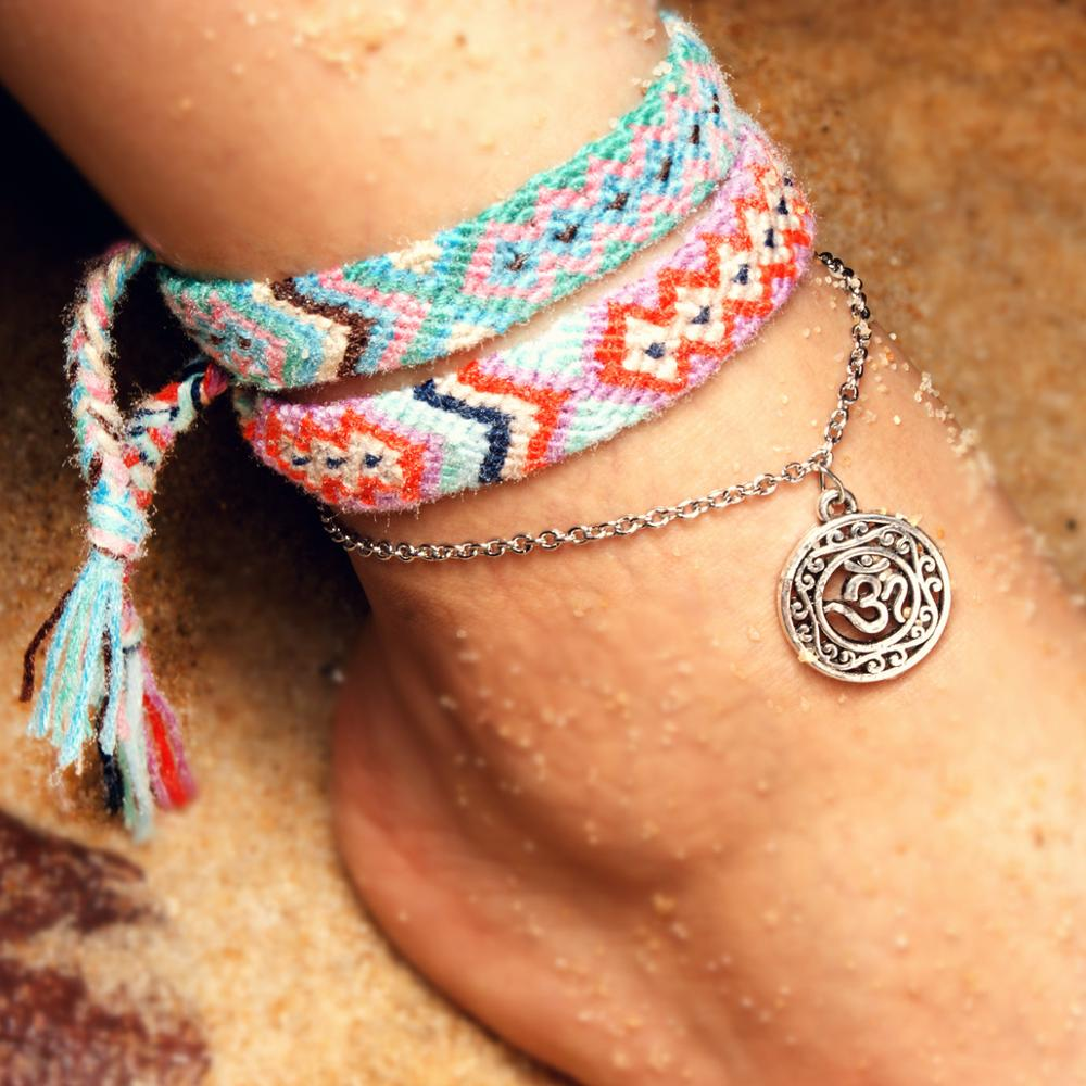 New Handmade Cotton Weave Anklet Anklets Bracelets for Women Bohemian Handmade Boho Charms anklets Femme Leg Foot Jewelry