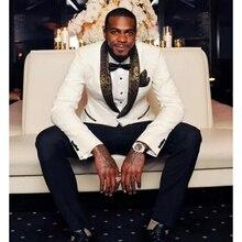 Latest Coat Pant Designs White Gold Lapel Prom Men Suit Slim Fit Skinny 2 Piece Tuxedo Custom Suits Groom Blazers (Jacket+Pants)