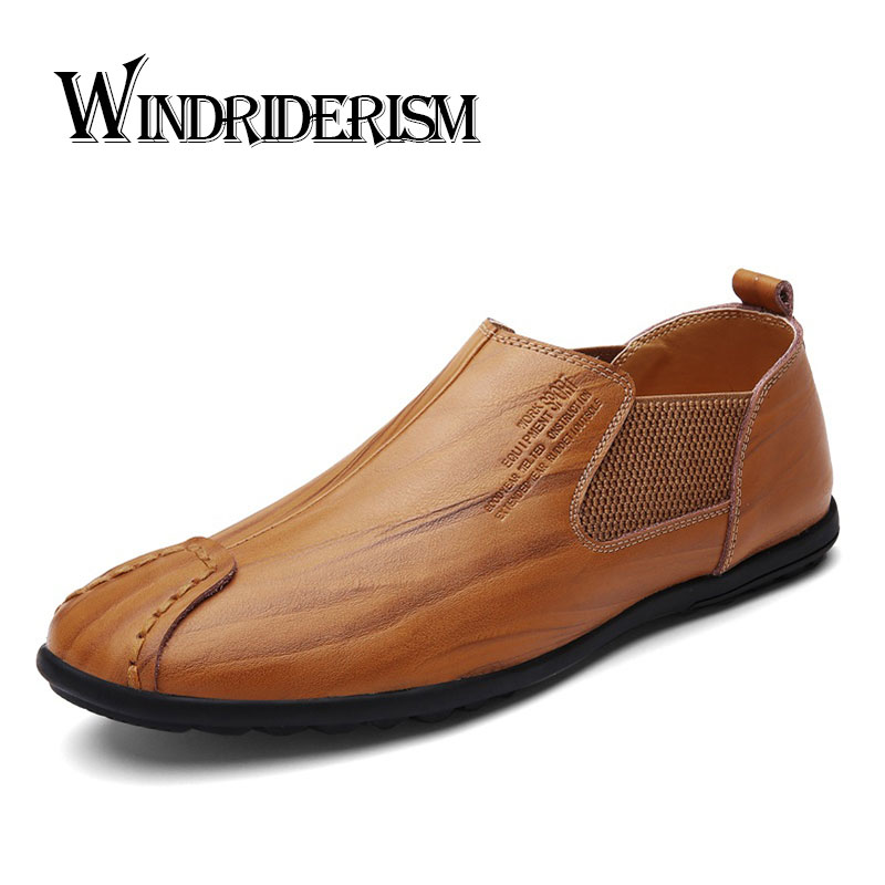 WINDRIDERISM 2017 New Arrival Men Casual Shoes Genuine Leather Loafers Slip On Zapatos De Hombre Black Brown Driving Shoes choudory crystal rhinestone men shoes luxury genuine leather loafers slip on party oxfords zapatos hombre 2016