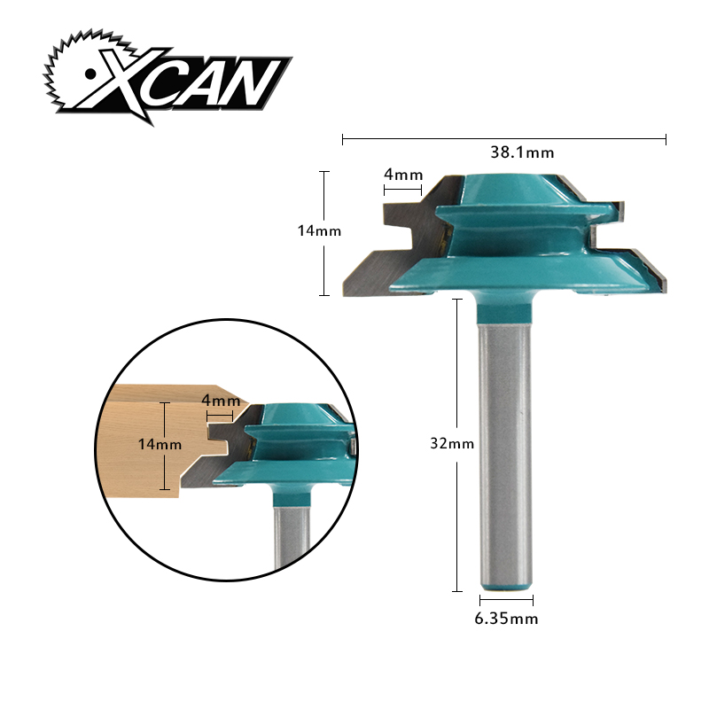 цена на XCAN! 1pc 45 Degree Lock Miter Router Bit 1-1/2 Diameter 1/4 Shank Wood Cutter For Wood Working Drilling Chamfer End Mills