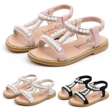 Summer Baby Girls Shoes Toddler Infant Kid Pearl Crystal Single Princess Roman Shoes Sandals For Children Girl Beach Sandals P25 2018 toddler girls princess crystal rhinestone sandals little kid glitter sequin pumps big children pageant dancing dress shoes