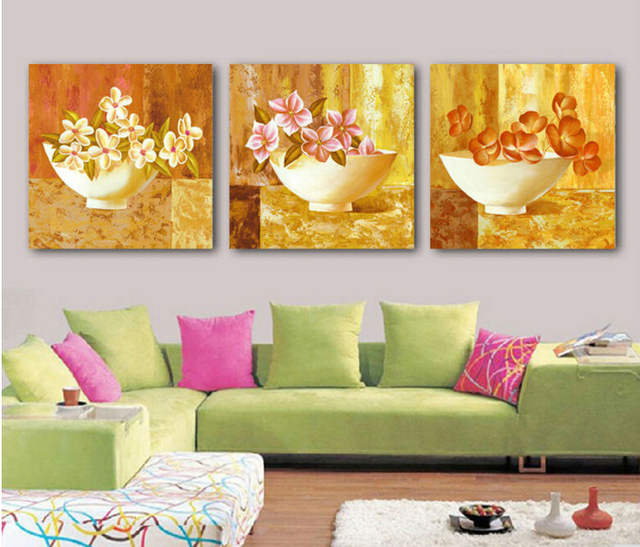 Abstract vases oil paintings purple flower pictures bedroom 3 piece ...