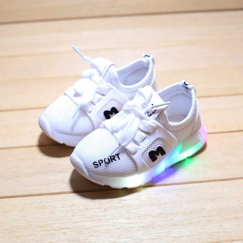 Children Baby Shoes Girls Boys Letter Crystal Led Light Luminous Running Sport Shoes Sapato Feminino girl shoes