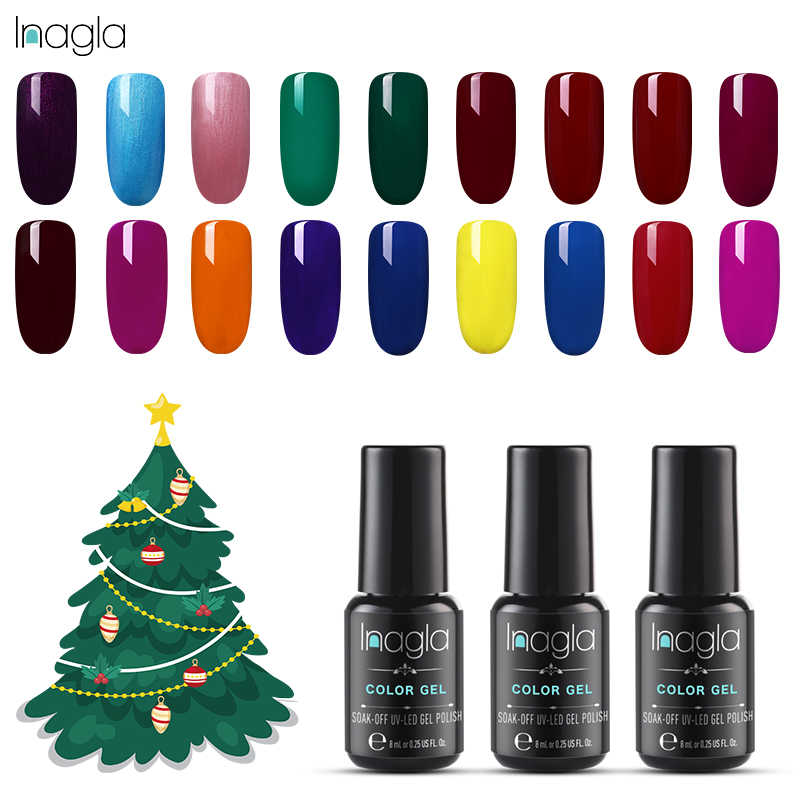 Inagla Nail Polish UV 8ml Gel Polish Soak Off Gel Varnish Lacquer Nail Art Vernis Semi Permanant Nail Varnishes Gel Lacquer