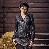 Fashion Design Real Leather Jacket Women Short Zipper Retro Black Biker Jacket 2019 New Arrival Spring Genuine Sheepskin Coats