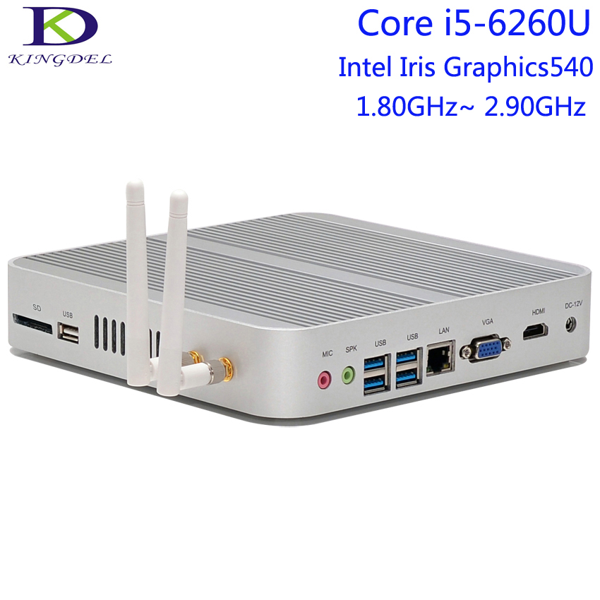 Core I5-6260U Fanless Mini Computer,Desktop Micro PC,Box PC,Intel Iris Graphics540,4K HTPC,HDMI,VGA,4USB3.0,300M Wifi,Metal Case