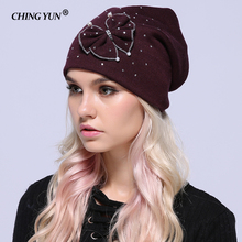 Winter flower Hat Ladies Knit crystals Hats For Women Beanies Caps Diamond  Knitted Cap With Ear Flaps woman hats accessories