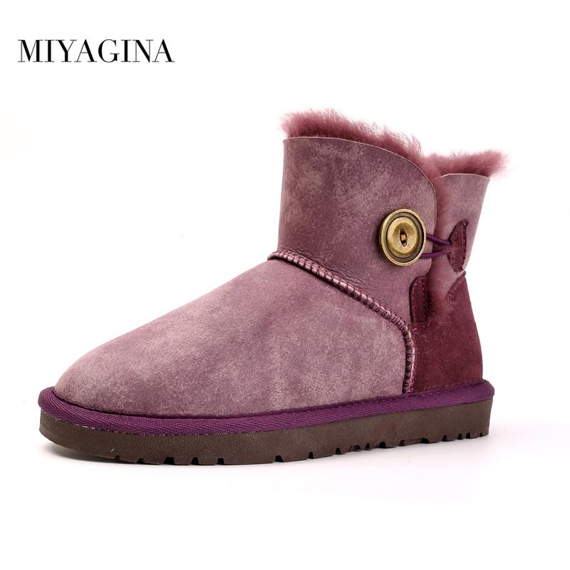 Free shipping New Fashion Australia Classic Short winter boots Real Sheepskin Leather Women's Ankle Mini snow boots shoes 2017 aumu australia fashion mini