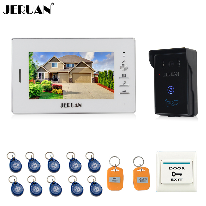 JERUAN 7`` LCD Screen Video Intercom Video Door Phone System 1 monitor + 700TVL RFID Access Waterproof Touch key Camera + 10 ID jeruan two 7 monitors lcd screen video intercom video door phone handsfree access control system 700tvl camera cathode lock