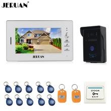 "JERUAN 7 ""Sistema de Intercomunicación Teléfono Video de La Puerta de Vídeo de Pantalla LCD 1 monitor + tecla Táctil de Acceso RFID A Prueba de agua 700TVL Cámara + 10 ID"
