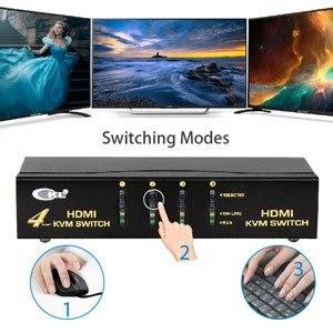 Фото ckl usb hdmi kvm переключатель с 4 портами без кабеля пк монитор цена
