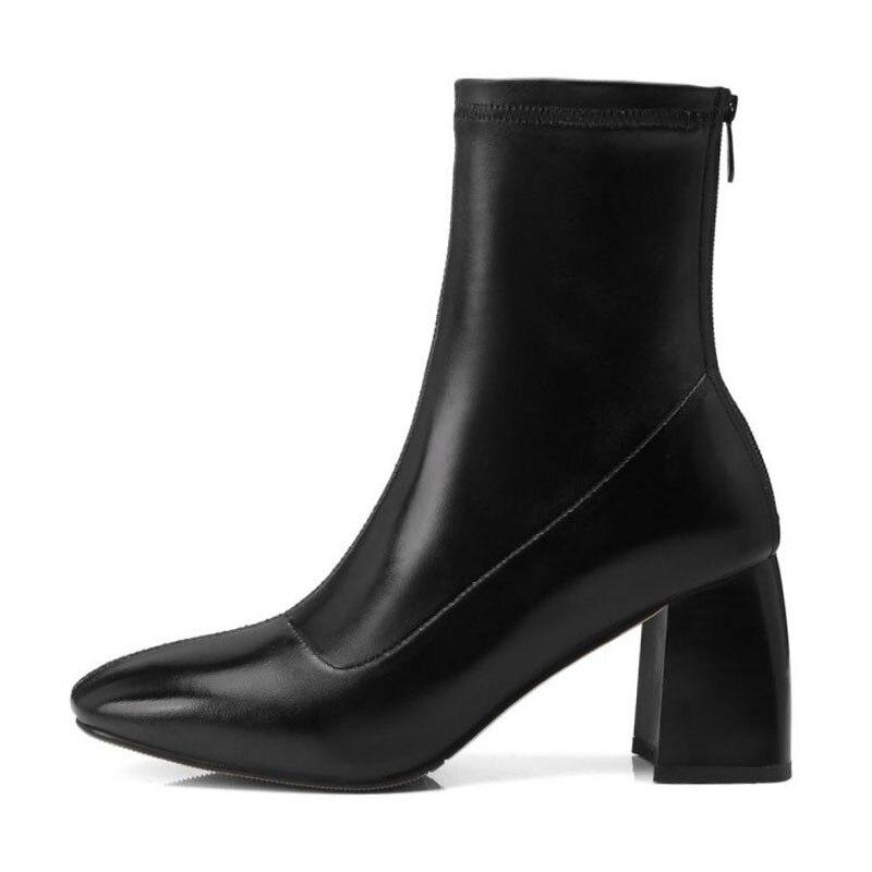 black Bottes Noir Cuir Qualité Haute En 34 Femmes Pour Mode Hauts Verni Kemekiss Hiver Taille Talons Cheville À 39 Zipper Stretch Quotidiennes SI1x5qnR