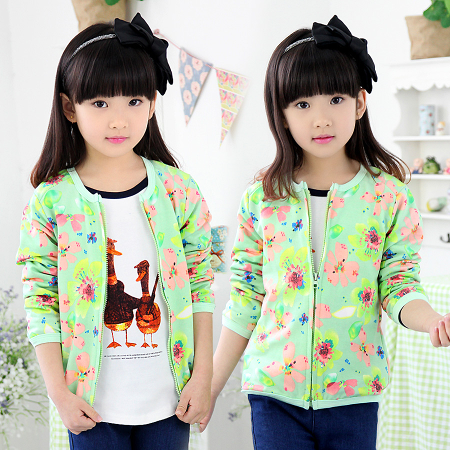 2016 Autumn Girls Clothing Baby Child Long Sleeve Zipper Flower Print Cardigan Free Shipping
