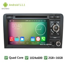 Quad Core 16GB WIFI 3G 2Din Android 5.1.1 7″ HD 1024*600 Car DVD Player Radio PC Stereo Screen GPS For Audi S3 A3 RS3 2003-2013