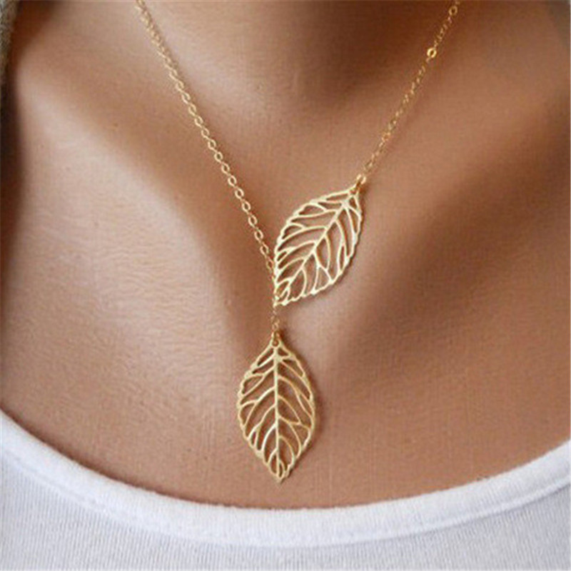 Jewelry 2016 New Gold And Sliver Two Leaf Pendants Necklace Chain multi layer statement necklaces Woman Gift SALE