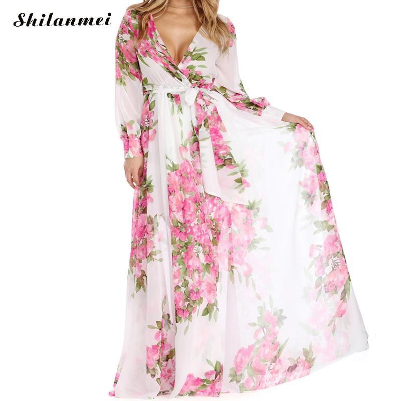 S-3XL Cover Ups Flower Dress Summer Women Sexy Swimsuit Cover Up Chiffon Plus Size Swimwear Bikini Long Beach deep v sexy 2018
