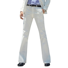 2019 New Micro-horn trousers Mens Business White Straight Wide-leg Suit pants British Casual Big Trousers