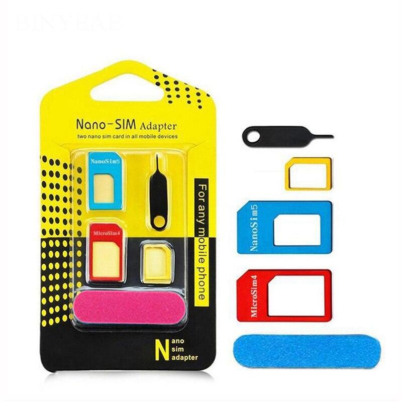5 in 1 Sim Card Adapters For Samsung Galaxy Wonder W I8150 Nano Micro Standard Sim Card Adapter abrasive Bar Card Pin