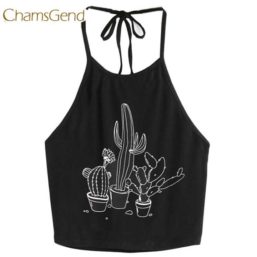 Chamsgend Cactus estampado negro Crop Top verano Halter corto Camis para mujer niña 170607