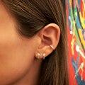 2021 модные высококачественные серьги-гвоздики J-образной формы с микро-инкрустацией фианитами в виде звезд, милые женские серьги вечерние, р...