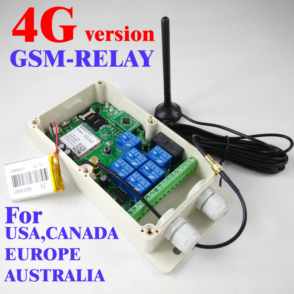 4G / 3G / GSM Seven relay output remote switch board (SMS Relay switch) Battery on board for power off alarm GSM-RELAY 4G Ver
