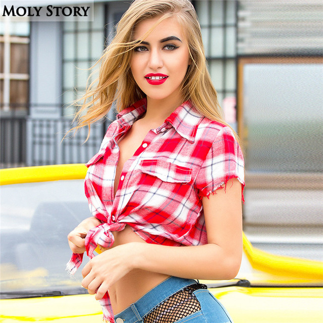 d85a1bc754 Summer Sexy Top Black Red Plaid Shirts Crop Tops Women Cheerleaders Dance  Wear (with the bra)