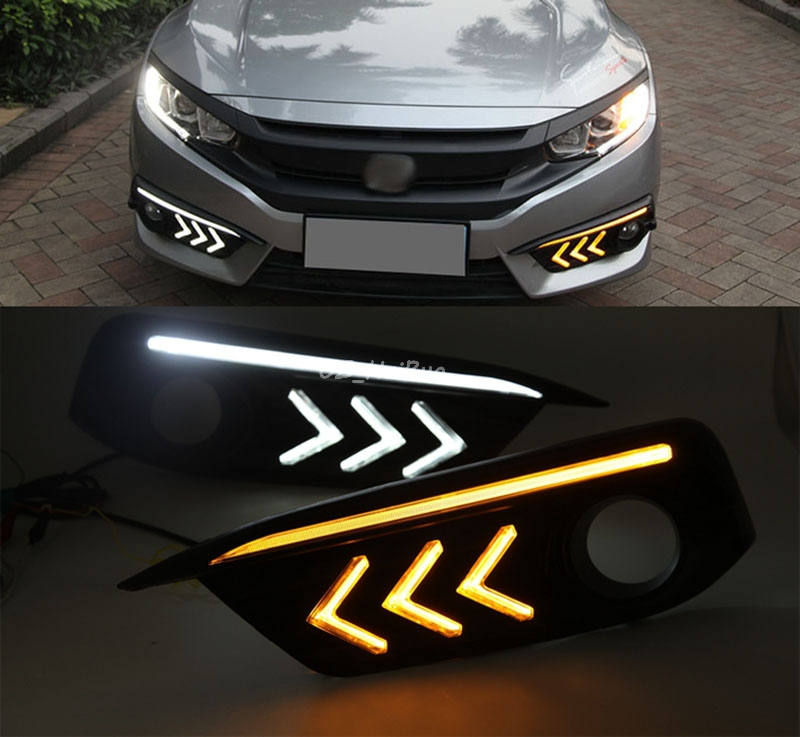 For Honda Civic 10th 2016 2017 Car LED DRL 3 colors Daytime Running Lights Turning Signal Fog Lamp Car-styling