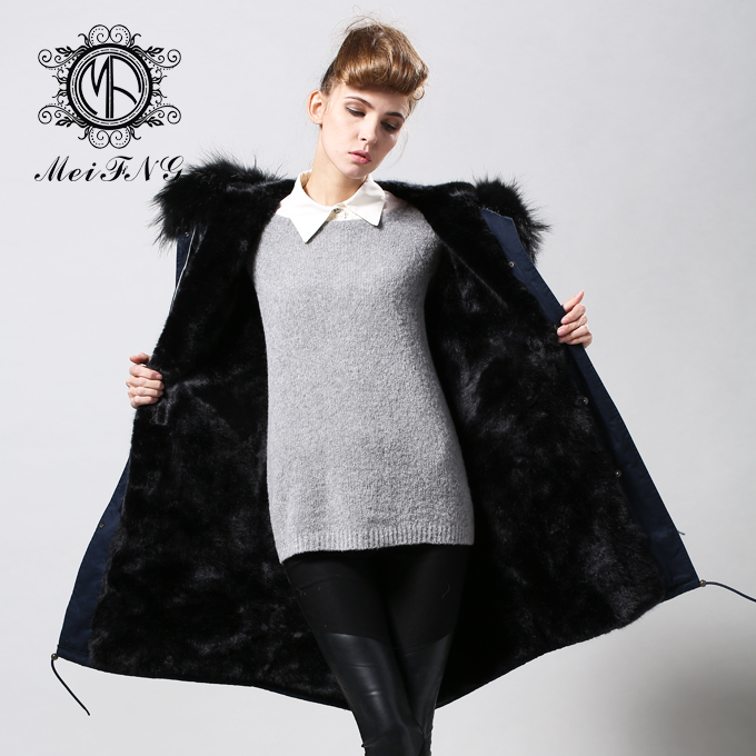 Fashion cold winter outwear 2016 new fake fur lined detachable long parka with natural raccoon fur collar trim