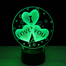 Hot sale I love You Colorful gradient 3D night light Creative remote control or touch switch night light led table lamp