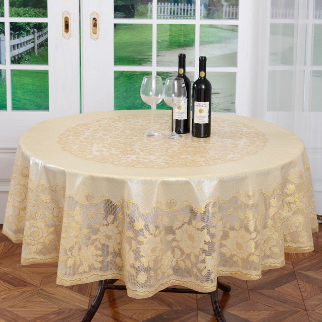 Diameter 180cm Gold Wedding Pvc Table Cloth Embossing Fl Round Lace Tablecloth Waterptoof And Oilproof Plastic Covers
