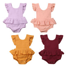 Infant Newborn Baby Girls Solid Color Ruffle Romper Flutter Sleeve Cotton Linen Jumpsuit One-Piece Outfit Summer Clothes недорого