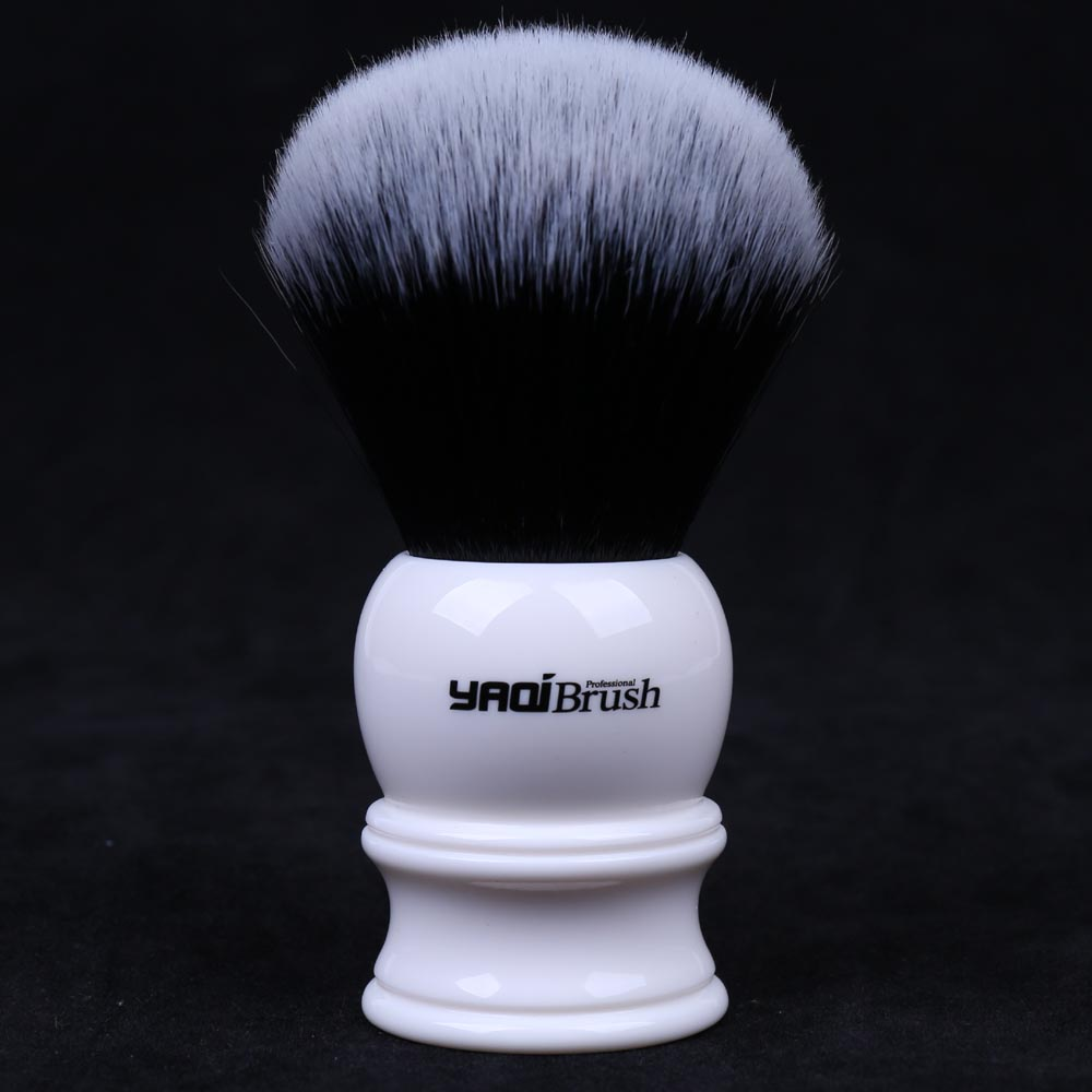 30mm Large Size Knot White Resin Handle Synthetic Hair Tuxedo Knot Men Shaving Brush knot front tee