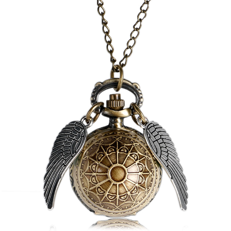 Elegant Golden Snitch Quidditch Wings Angel Quartz Pocket Watch Elegant Fob Watches With Sweater Necklace 2017 Top Gifts