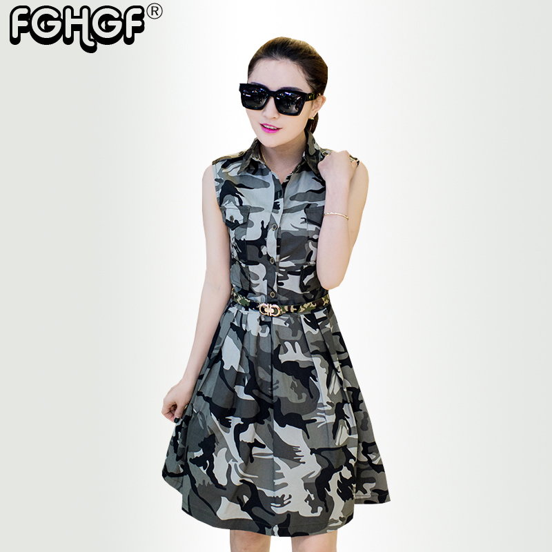 summer women dress army green Camouflage sleeveless Turn Down Collar Dress Fashion Military Female Dress Ladies Casual  1631 Платье
