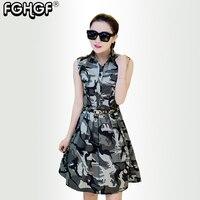 summer women dress army green Camouflage sleeveless Turn Down Collar Dress Fashion Military Female Dress Ladies Casual 5801