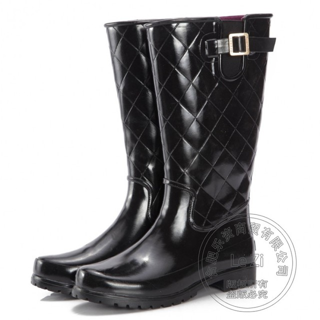 Gum Mens Rubber Rain Boots Super Warm Short Plush Wading Rainboots Belt Korean Antiskid Waterproof Checked Wellies Black Wear