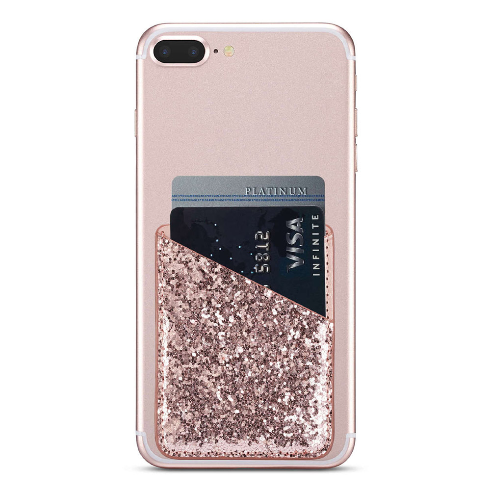 Fashion Credit Pocket Purse Practical Stick On Phone Wallet Women Card Holder Ultra Slim Self-adhesive Sequin Decoration Mini